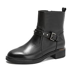 Tata/他她2018冬黑色牛皮革通勤皮带扣方跟女短靴FYPDADD8