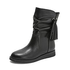 Tata/他她2018冬专柜同款黑色牛皮革流苏套筒休闲绒里靴女中靴2N9ZADZ8