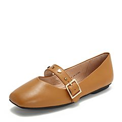 Tata/他她2018秋专柜同款棕色羊皮革一字带方头玛丽珍鞋休闲女鞋2HU04CQ8