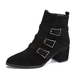 Tata/他她2018冬黑色羊皮革通勤尖头饰扣粗跟女短靴DSSK8DD8