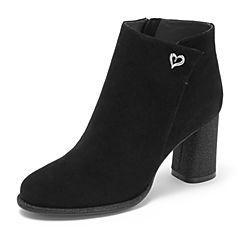 Tata/他她2018冬黑色羊皮革绒面通勤亮线布粗高跟踝靴女短靴DSK91DD8