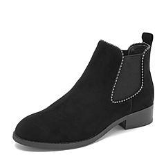 Tata/他她2018冬专柜同款黑色羊皮革绒面串珠套筒通勤踝靴女短靴DS140DD8