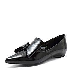 Tata/他她2018秋专柜同款黑色漆牛皮革通勤尖头蝴蝶结浅口女单鞋CDF01CQ8