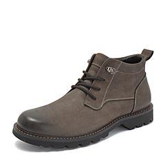 Tata/他她2018冬灰色牛皮革时尚休闲靴工装鞋大头鞋男短靴DS623DD8