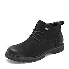 Tata/他她2018冬黑色牛皮革时尚休闲靴工装鞋大头鞋男短靴DS623DD8