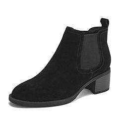 Tata/他她2018冬黑色牛剖层革通勤套筒粗跟踝靴绒里靴女短靴DSTJ9DD8