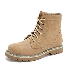 Tata/他她2018冬专柜同款杏色牛剖层革休闲马丁靴女短靴ELF01DD8