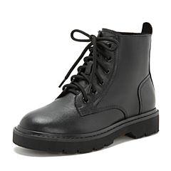 Tata/他她2018冬黑色牛皮革休闲靴马丁靴女短靴DSMD1DD8