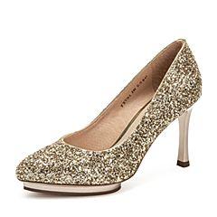 Tata/他她2019春专柜同款金色亮片布尖头细高跟鞋浅口女鞋FXVD2AQ9