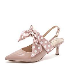 Tata/他她2019春专柜同款粉色拼接波点蝴蝶结尖头猫跟后空女凉鞋FEN07AH9