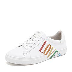 Tata/他她2019春专柜同款白色牛皮革涂鸦小白鞋板鞋休闲女鞋FW620AM9