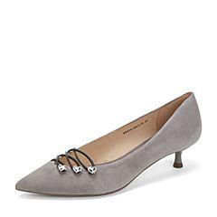 Tata/他她2019春专柜同款灰色羊皮革绒面水钻尖头猫跟鞋浅口女鞋FVZ18AQ9
