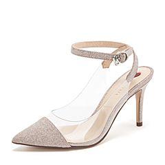 Tata/他她2019春专柜同款粉银/白亮片PU胶片一字带尖头高跟女凉鞋FWZ09AH9