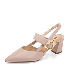 Tata/他她2019春专柜同款粉杏羊皮革尖头高跟后空女凉鞋FEN12AH9