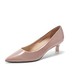 Tata/他她2019春专柜同款粉色漆牛皮革尖头猫跟鞋浅口女鞋FCVA5AQ9