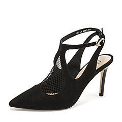 Tata/他她2019春专柜同款黑色拼接网布尖头细高跟鞋后空女凉鞋FWZ06AH9