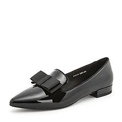 Tata/他她2019春专柜同款黑色漆牛皮革尖头乐福鞋英伦女单鞋FV522AM9