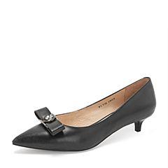 Tata/他她2019春专柜同款黑色牛皮革蝴蝶结尖头猫跟鞋浅口女鞋FCY05AQ9