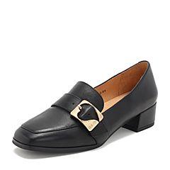 Tata/他她2019春专柜同款黑色羊皮革通勤方头乐福鞋女单鞋2EY22AM9