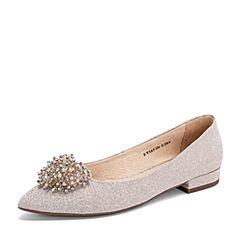 Tata/他她2019春专柜同款粉银亮片PU革水钻尖头方跟浅口女鞋FV5A8AQ9