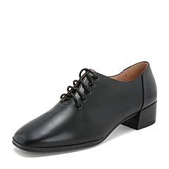 Tata/他她2019春专柜同款黑色牛皮革通勤方头绑带女单鞋2EY21AM9