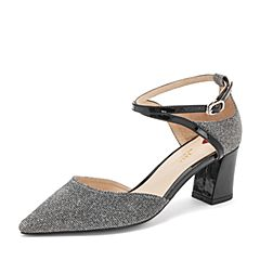 Tata/他她2019春专柜同款银灰/黑拼接尖头一字带高跟中空女凉鞋FEN13AK9