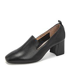 Tata/他她2019春专柜同款黑色牛皮革通勤高跟鞋奶奶鞋方头女鞋2BU21AM9