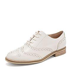 Tata/他她2019春专柜同款米色羊皮革绑带雕花牛津鞋女单鞋FJ021AM9