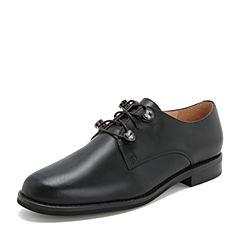 Tata/他她2019春专柜同款黑色牛皮革通勤水钻绑带女单鞋FJ022AM9
