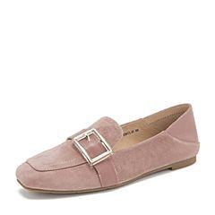 Tata/他她2019春专柜同款粉色羊皮革方头乐福鞋平底鞋休闲女鞋FLD21AM9