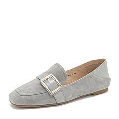 Tata/他她2019春专柜同款灰色羊皮革方头乐福鞋平底鞋休闲女鞋FLD21AM9