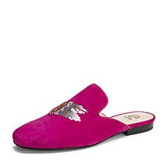 Tata/他她2019春专柜同款桃红羊皮革绒面穆勒鞋半拖后空女凉鞋FOV06AH9