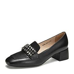 Tata/他她2019春专柜同款黑色牛皮革水钻方头乐福鞋英伦女单鞋FGR21AM9