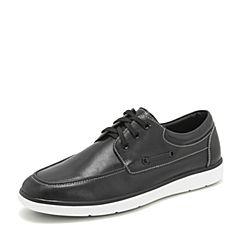Tata/他她2019春专柜同款黑色牛皮革绑带板鞋平底鞋男皮鞋27T20AM9