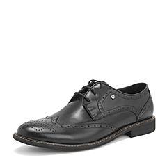 Tata/他她2019春专柜同款黑色牛皮革雕花绑带商务鞋男皮鞋22Y25AM9