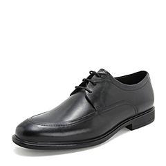 Tata/他她2019春专柜同款黑色牛皮革商务德比鞋绑带男单鞋27E21AM9