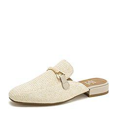 Tata/他她2019春专柜同款米色编织布方头穆勒鞋半拖女后空凉鞋DTF01AH9