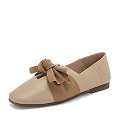 Tata/他她2019春专柜同款棕色拼接结饰方?#33778;?#24213;鞋浅口休闲女鞋DNF01AM9