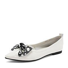 Tata/他她2019春专柜同款米色羊皮革透明胶片蝴蝶结尖头浅口女单鞋DGF01AQ9
