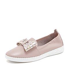 Tata/他她2019春专柜同款粉色拼接蝴蝶结渔夫鞋平底鞋休闲女鞋EBF01AM9