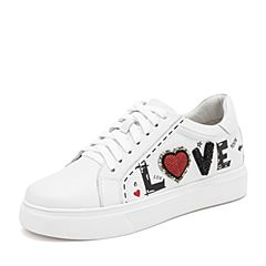 Tata/他她2019春专柜同款白色牛皮革涂鸦小白鞋休闲板鞋女鞋DMF01AM9