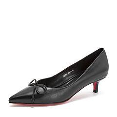 Tata/他她2019春专柜同款黑色牛皮革尖头猫跟鞋浅口女单鞋DZF01AQ9