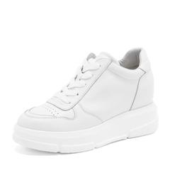Tata/他她2019春白色牛皮革绑带厚底休闲鞋女单鞋DS15AAM9