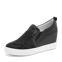 Tata/他她2019春黑色拼接水钻休闲鞋套?#25490;?#21333;鞋DS623AM9