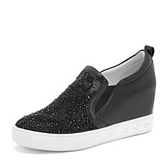 Tata/他她2019春黑色拼接水钻休闲鞋套脚女单鞋DS623AM9