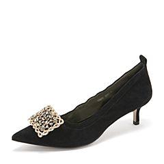 Tata/他她2019春黑色羊皮革水钻方扣猫跟鞋奶奶鞋尖头浅口女鞋DS811AQ9