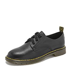 Tata/他她2019春专柜同款黑色牛皮革英伦绑带女单鞋FFF01AM9