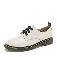 Tata/他她2019春专柜同款白色牛皮革英伦绑带女单鞋FFF01AM9
