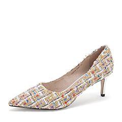 Tata/他她2019春专柜同款白/彩复古编织布尖头高跟浅口女鞋FAF02AQ9