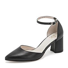 Tata/他她2019春黑色牛皮革一字带尖头鞋粗高跟中空女凉鞋DSZK8AK9